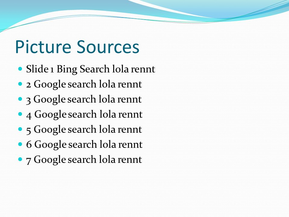 Picture Sources Slide 1 Bing Search lola rennt