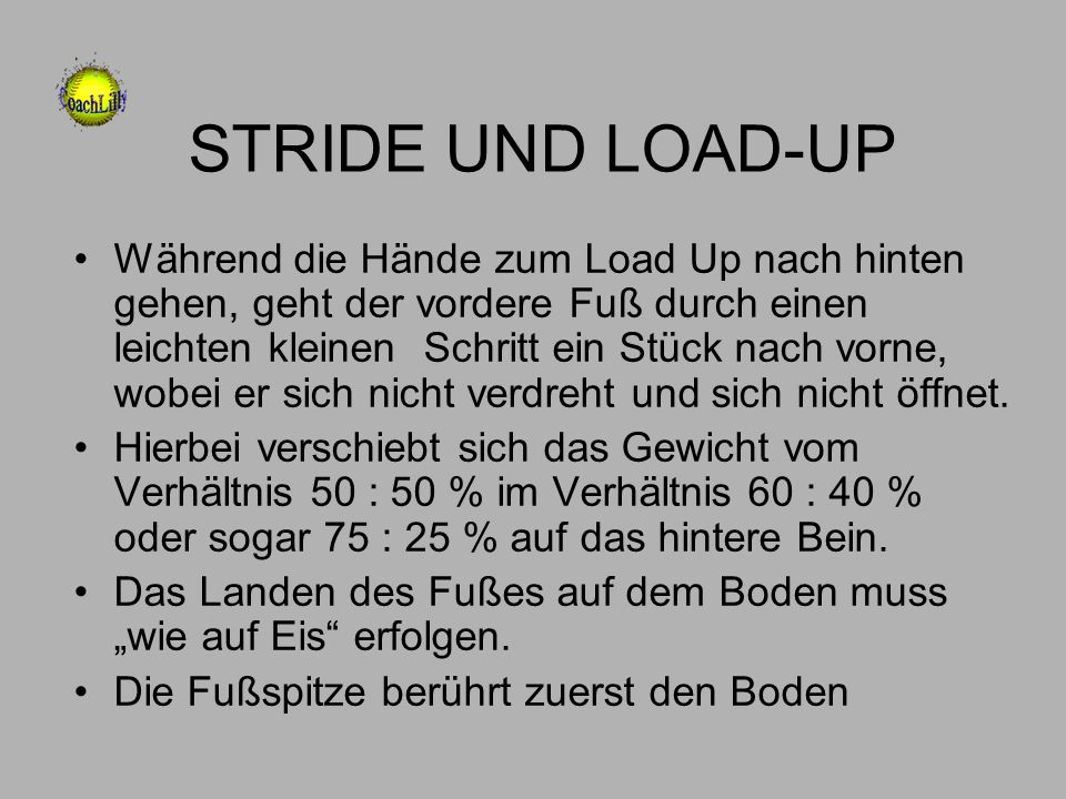 STRIDE UND LOAD-UP