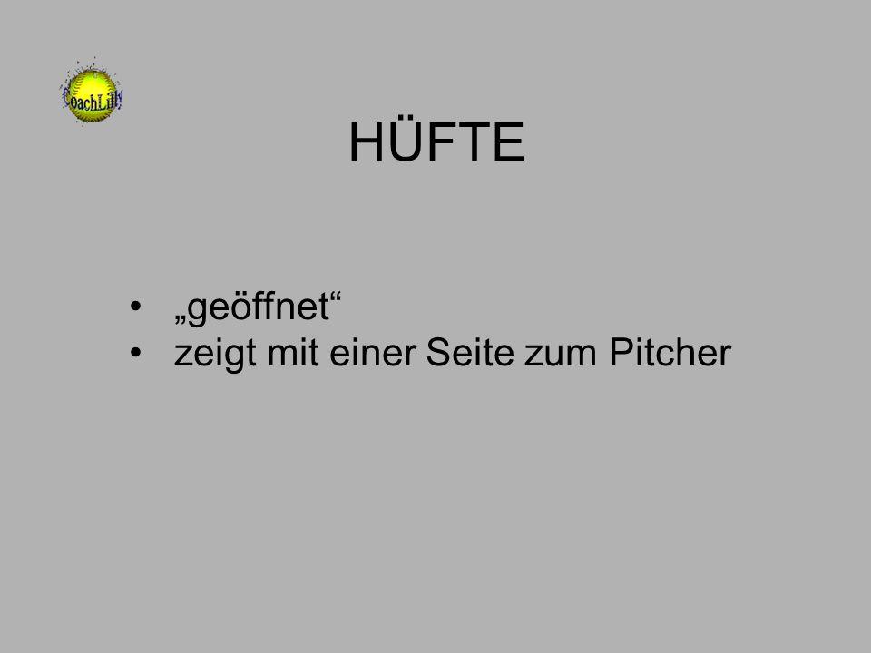 """HÜFTE """"geöffnet zeigt mit einer Seite zum Pitcher"""