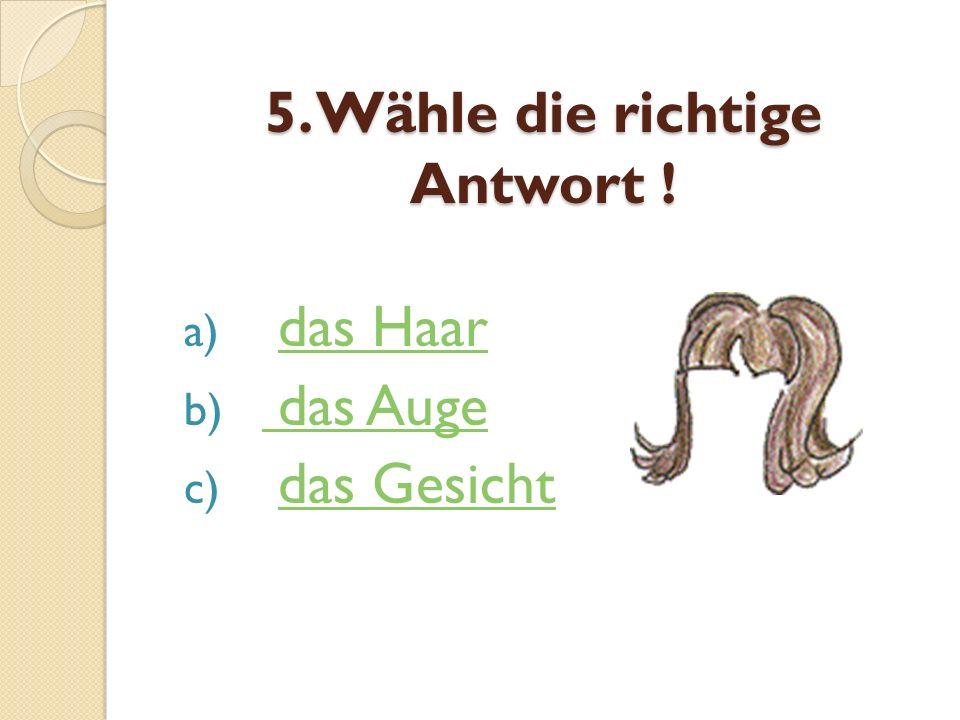5. Wähle die richtige Antwort !