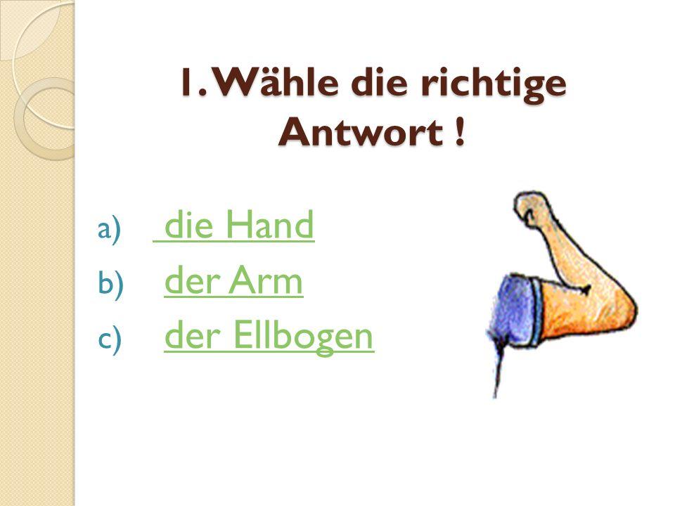 1. Wähle die richtige Antwort !