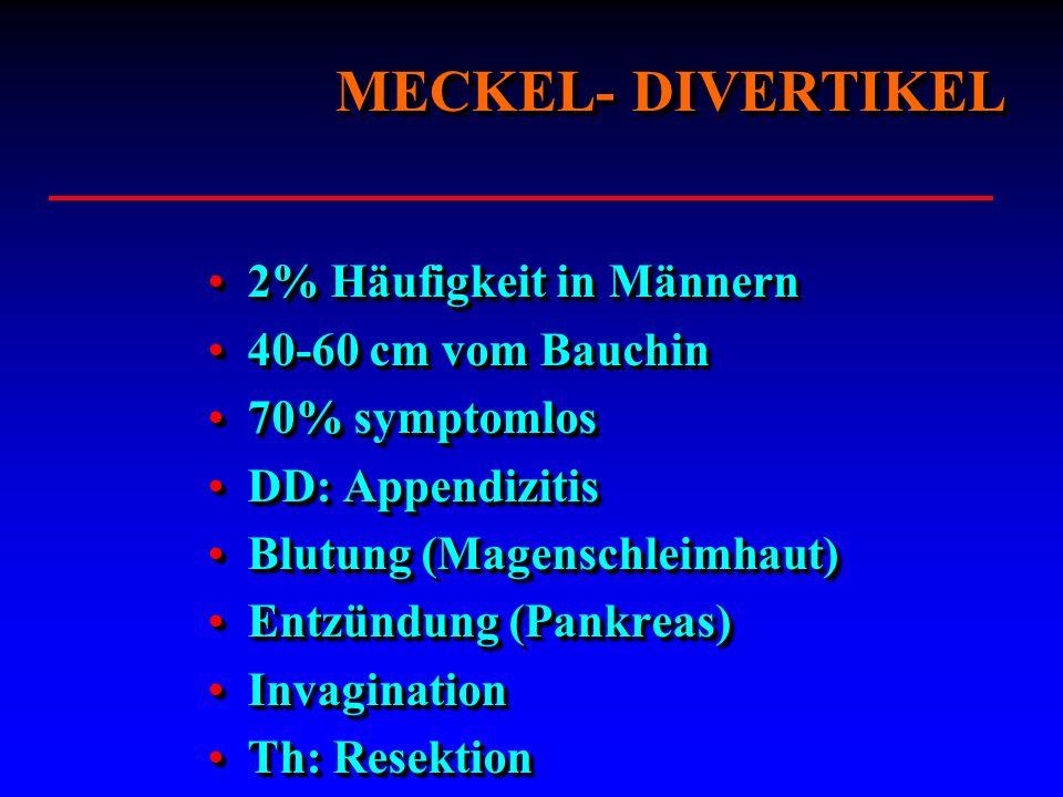 MECKEL- DIVERTIKEL 2% Häufigkeit in Männern 40-60 cm vom Bauchin