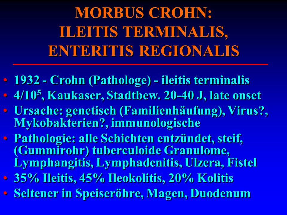 MORBUS CROHN: ILEITIS TERMINALIS, ENTERITIS REGIONALIS