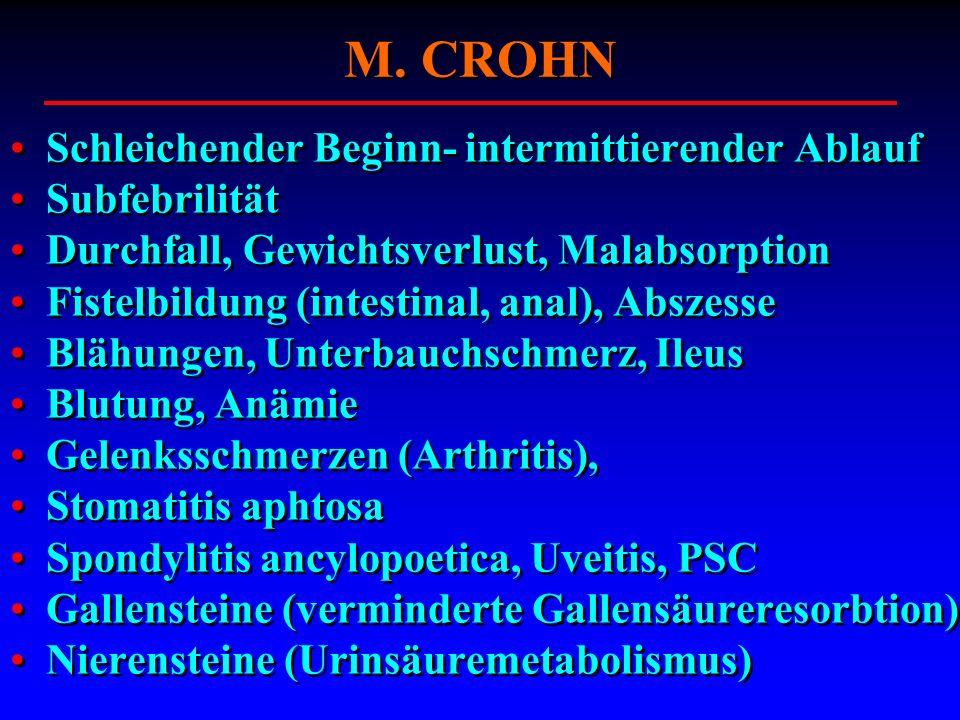 M. CROHN Schleichender Beginn- intermittierender Ablauf Subfebrilität