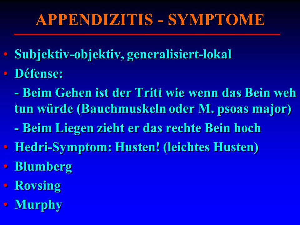 APPENDIZITIS - SYMPTOME