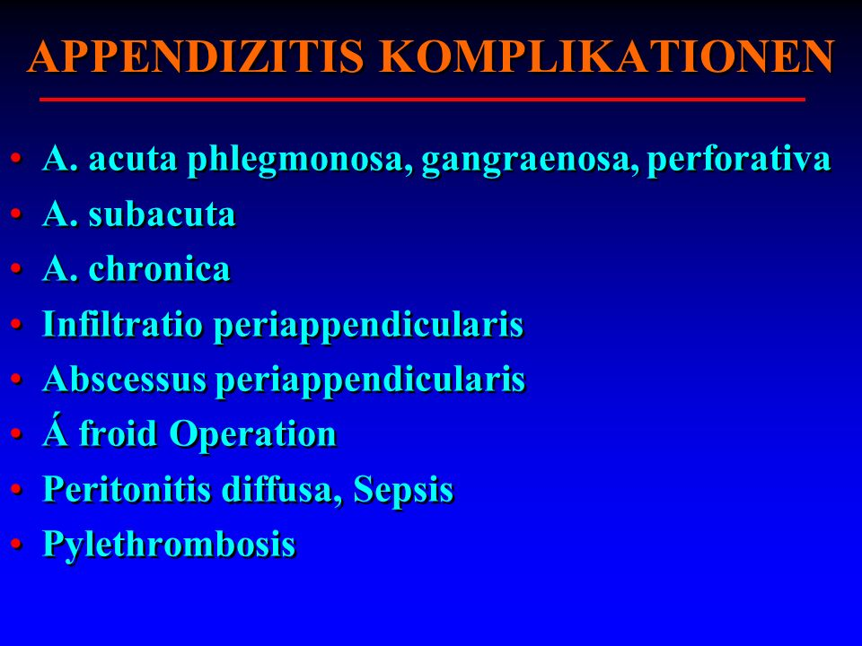 APPENDIZITIS KOMPLIKATIONEN