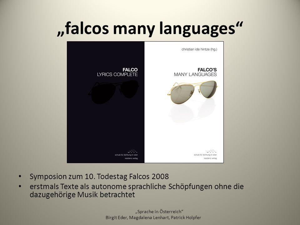 """falcos many languages"