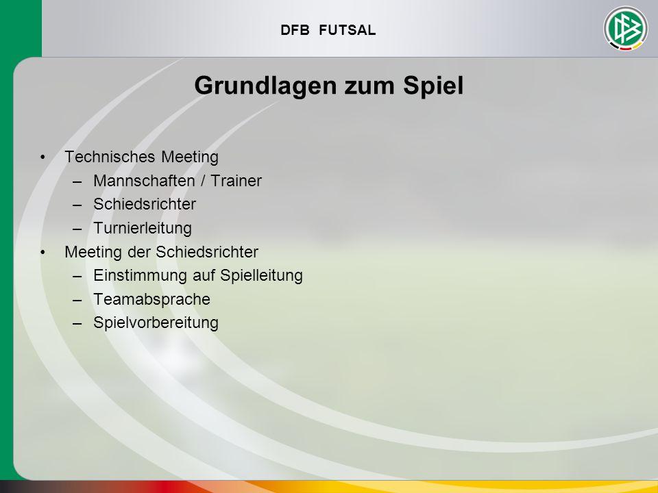 Grundlagen zum Spiel Technisches Meeting Mannschaften / Trainer