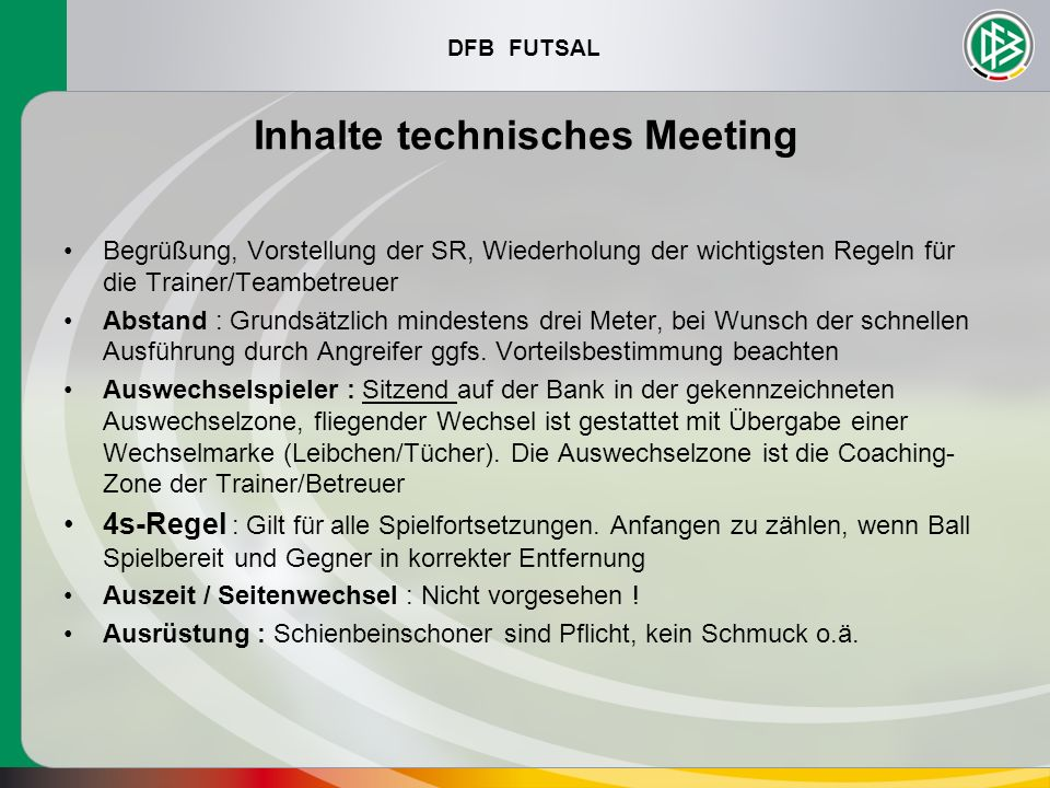 Inhalte technisches Meeting