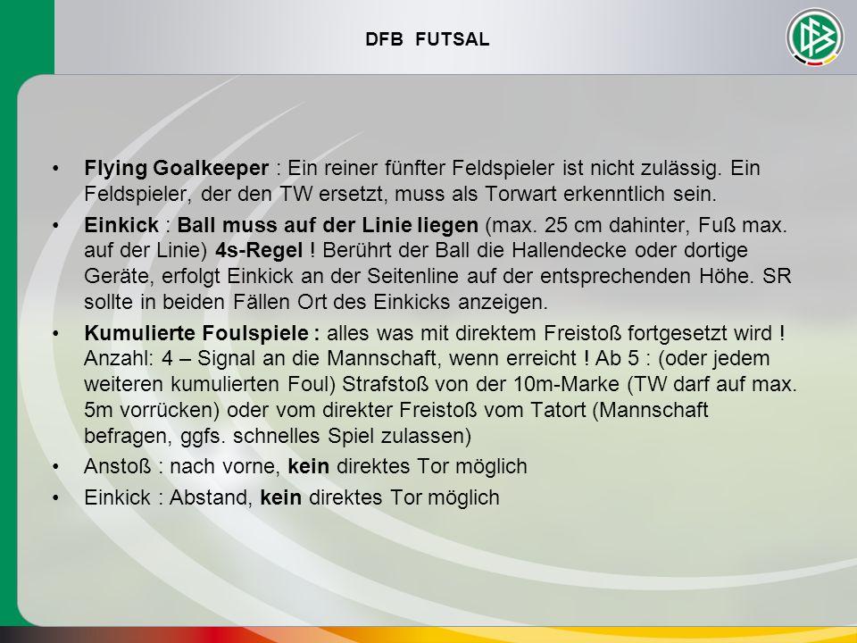 Flying Goalkeeper : Ein reiner fünfter Feldspieler ist nicht zulässig