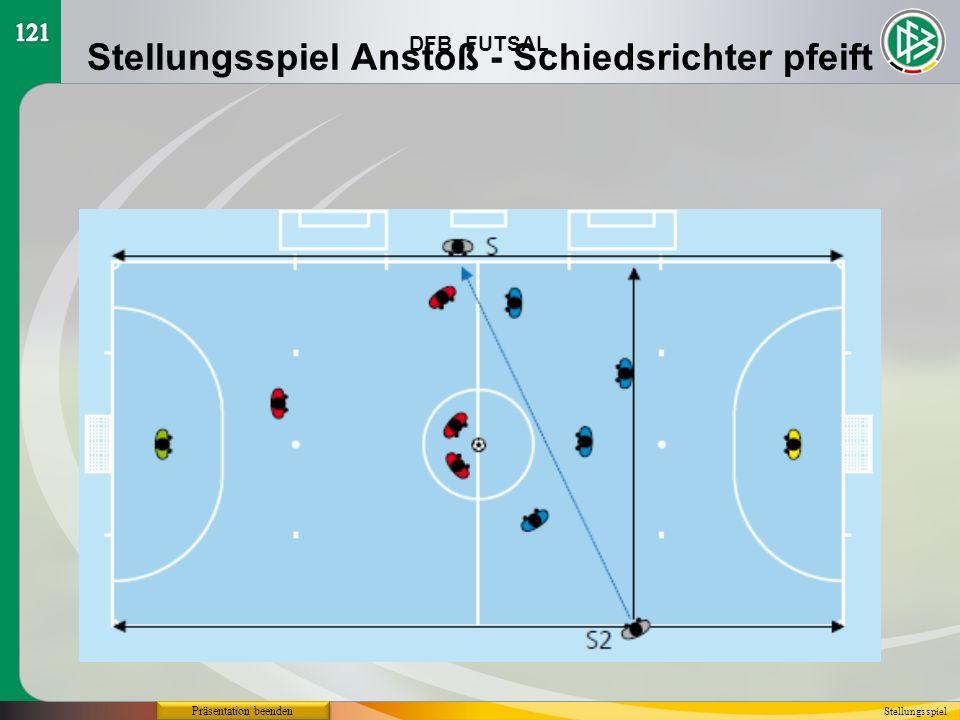 Stellungsspiel Anstoß - Schiedsrichter pfeift
