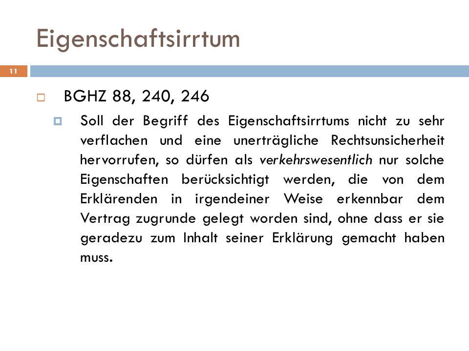 Eigenschaftsirrtum BGHZ 88, 240, 246