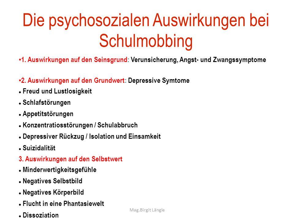 Die psychosozialen Auswirkungen bei Schulmobbing