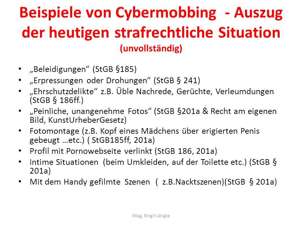 Beispiele von Cybermobbing - Auszug der heutigen strafrechtliche Situation (unvollständig)