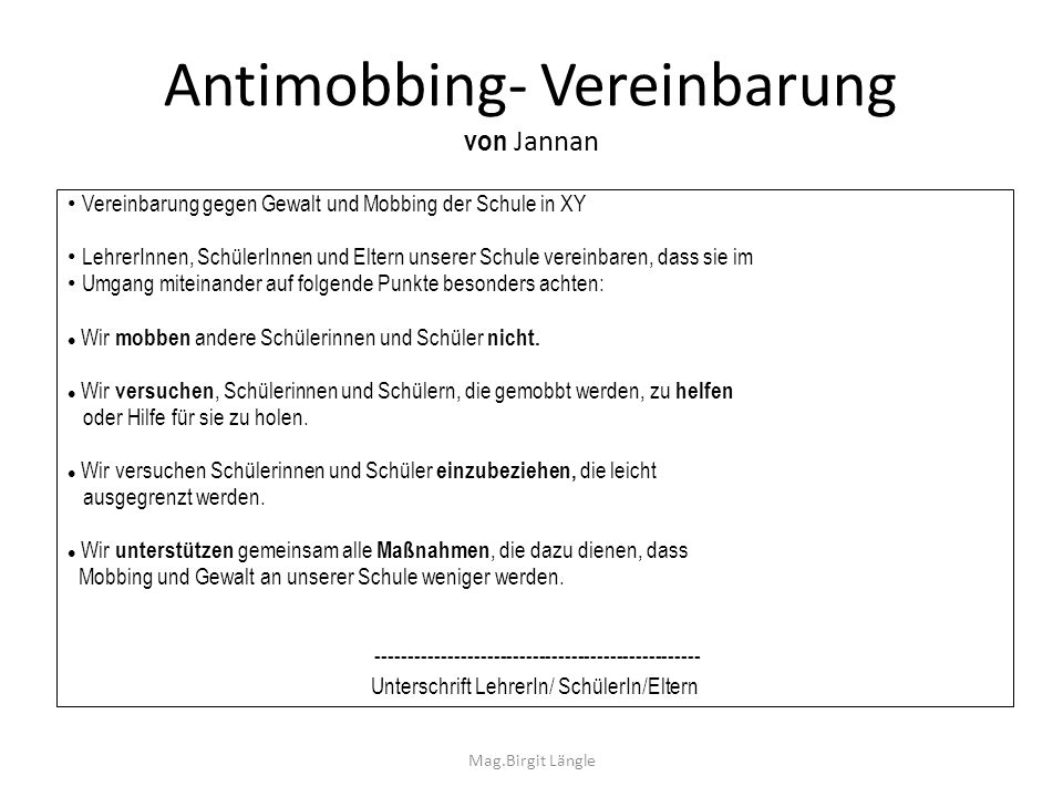 Antimobbing- Vereinbarung von Jannan