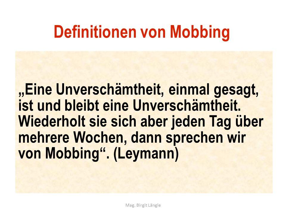 Definitionen von Mobbing