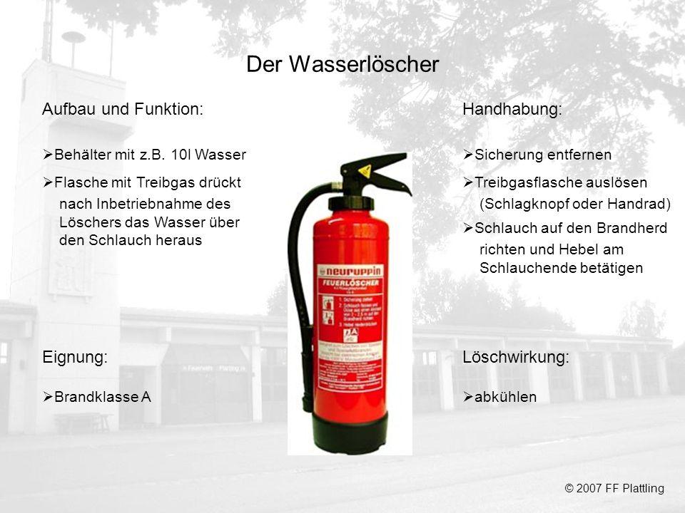 Der Wasserlöscher Aufbau und Funktion: Handhabung: Eignung: