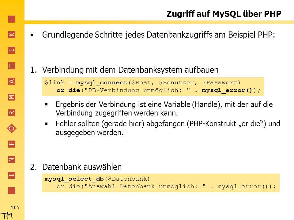 Zugriff auf MySQL über PHP