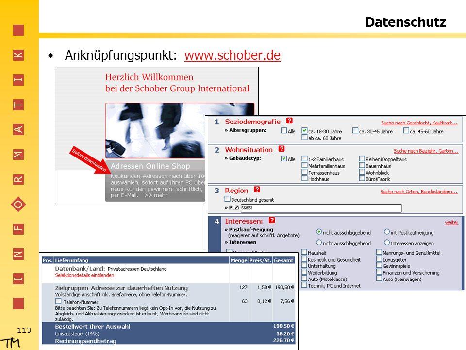 Datenschutz Anknüpfungspunkt: www.schober.de