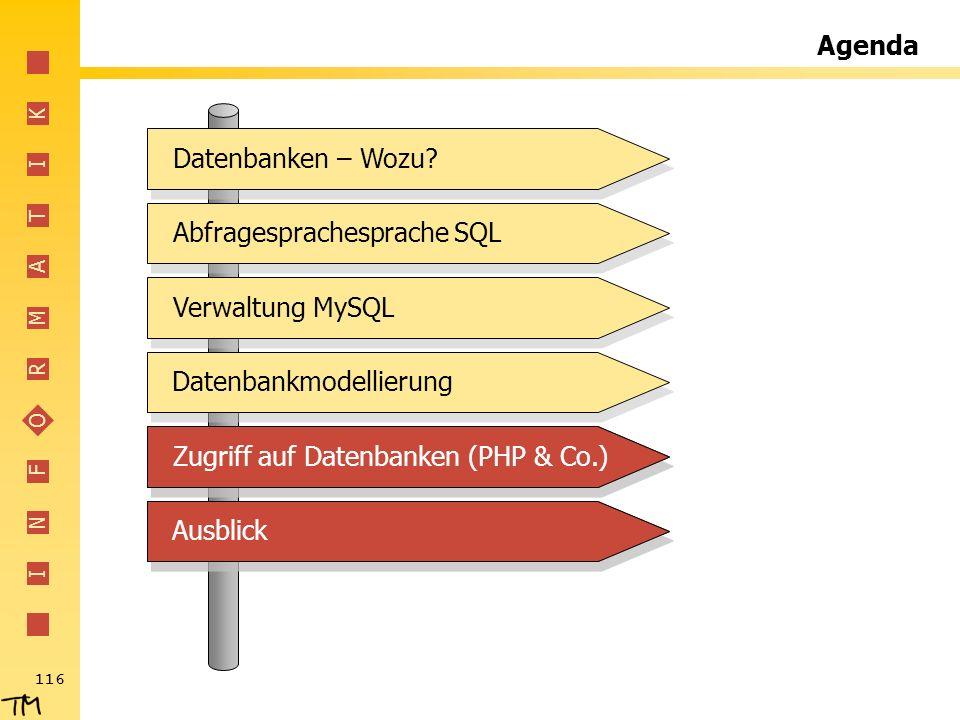 Agenda Abfragesprachesprache SQL. Verwaltung MySQL. Datenbankmodellierung. Zugriff auf Datenbanken (PHP & Co.)