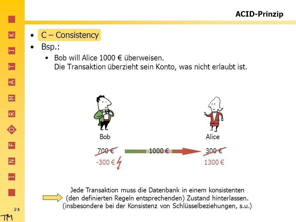 C – Consistency Bsp.: ACID-Prinzip