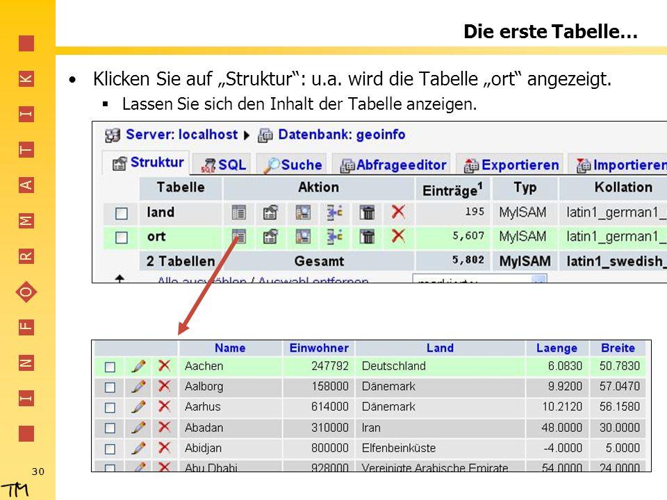 """Klicken Sie auf """"Struktur : u.a. wird die Tabelle """"ort angezeigt."""