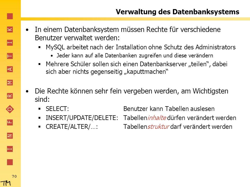 Verwaltung des Datenbanksystems
