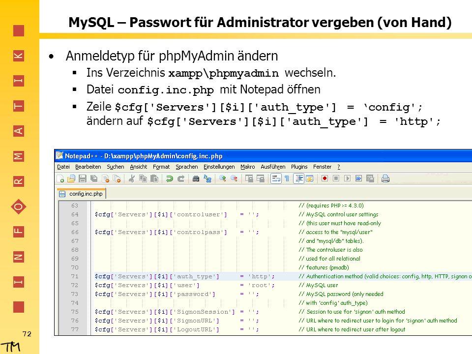 MySQL – Passwort für Administrator vergeben (von Hand)