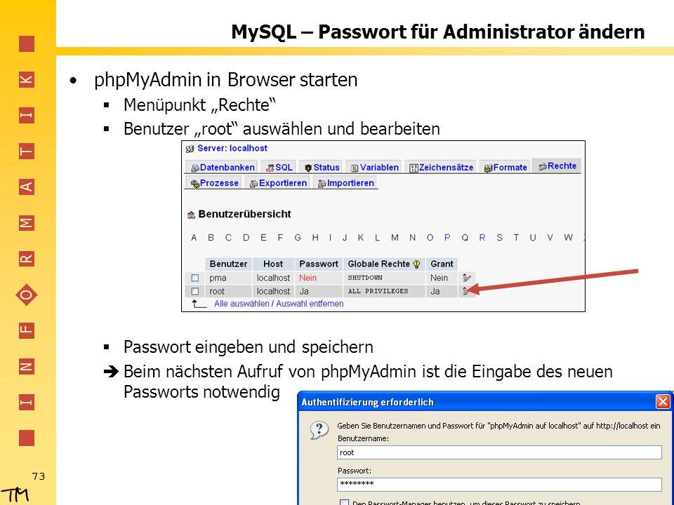 MySQL – Passwort für Administrator ändern