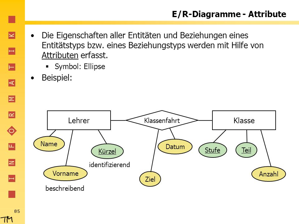 E/R-Diagramme - Attribute