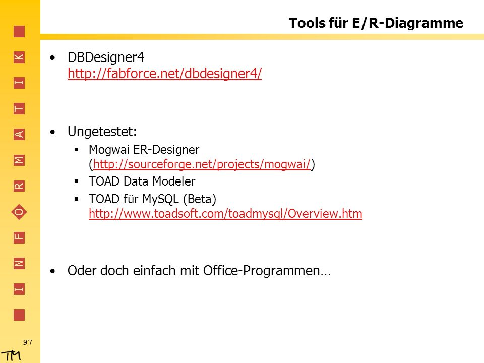 Tools für E/R-Diagramme