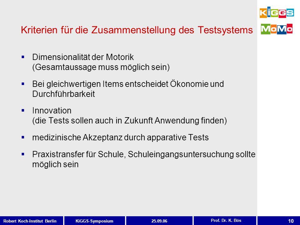 Kriterien für die Zusammenstellung des Testsystems