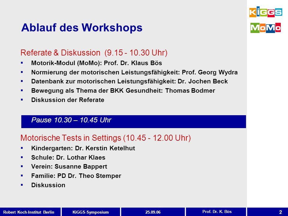 Ablauf des Workshops Referate & Diskussion ( Uhr)