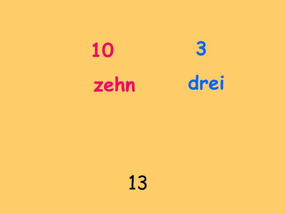 10 zehn 3 drei 13