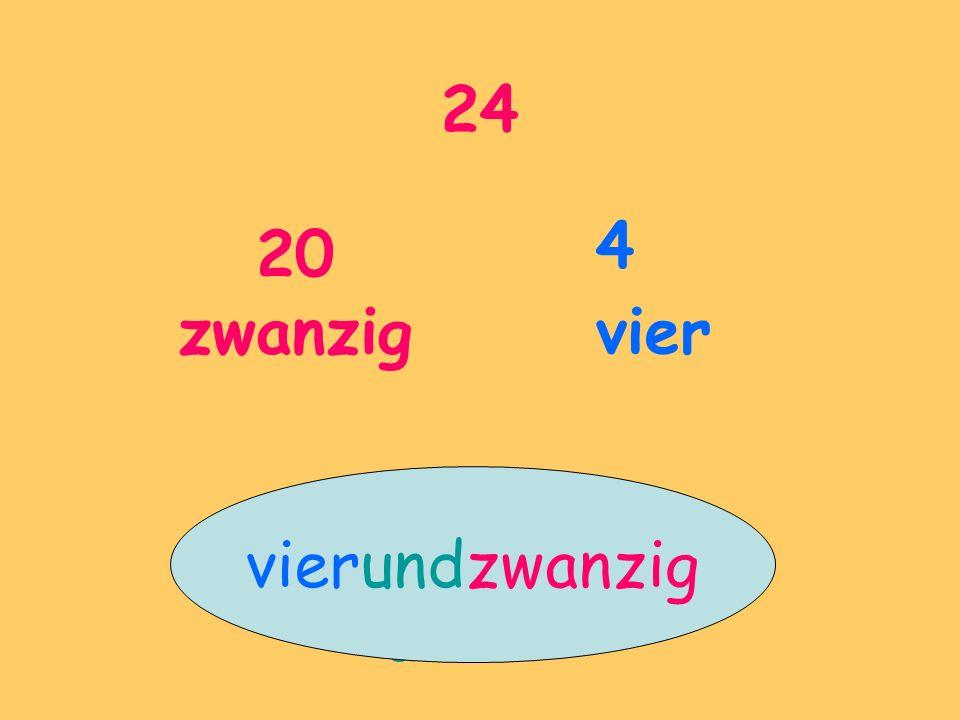 24 20 zwanzig 4 vier vierundzwanzig und