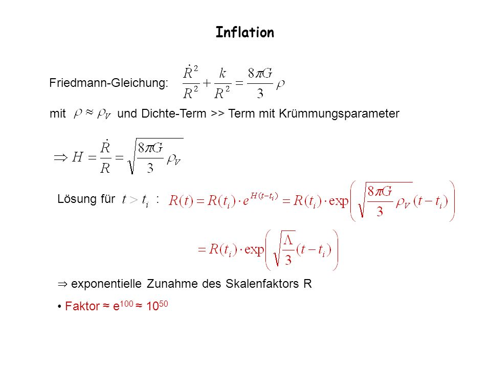 Inflation Friedmann-Gleichung: