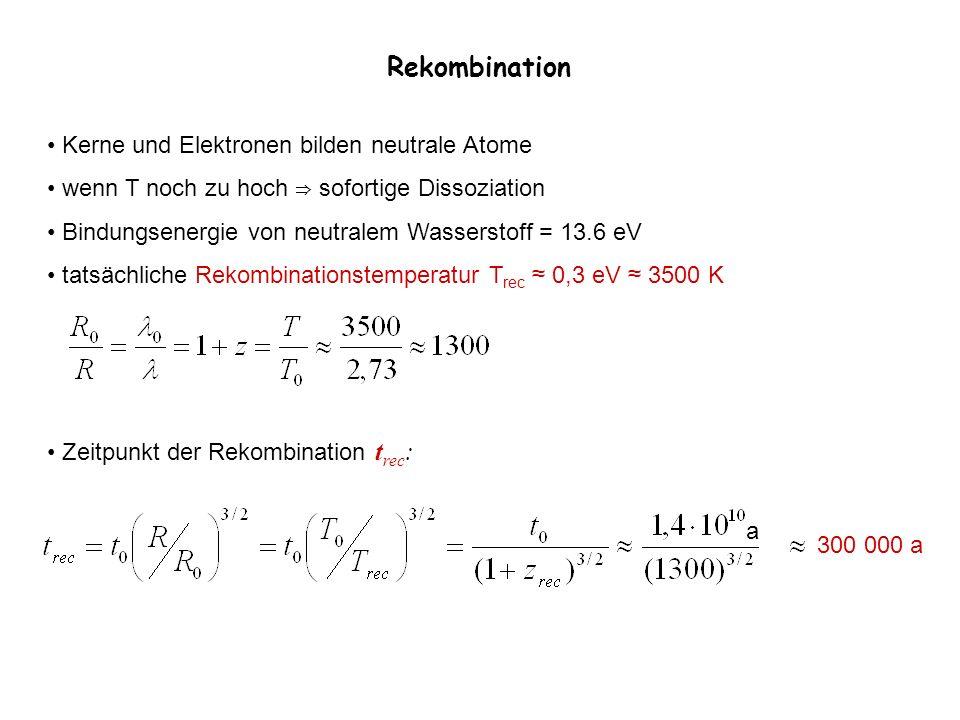 Rekombination Kerne und Elektronen bilden neutrale Atome