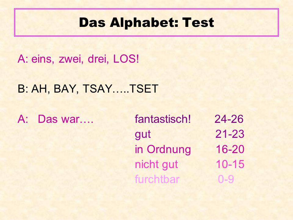 Das Alphabet: Test A: eins, zwei, drei, LOS! B: AH, BAY, TSAY…..TSET