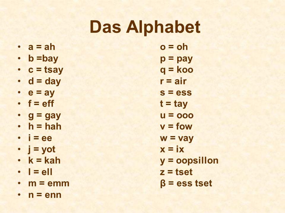 Das Alphabet a = ah o = oh b =bay p = pay c = tsay q = koo
