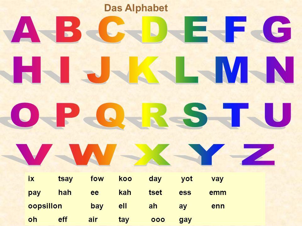 A B C D E F G H I J K L M N O P Q R S T U V W X Y Z Das Alphabet