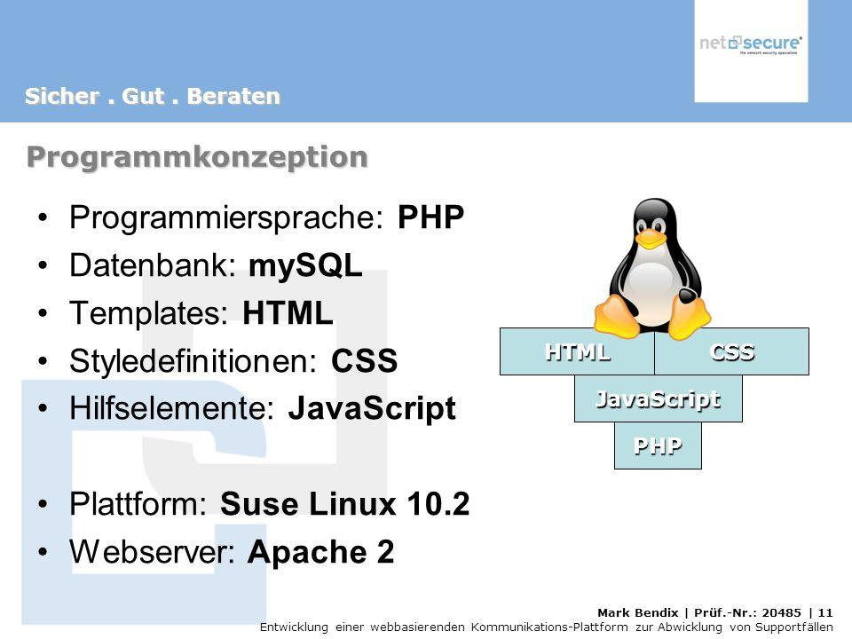 Programmiersprache: PHP Datenbank: mySQL Templates: HTML