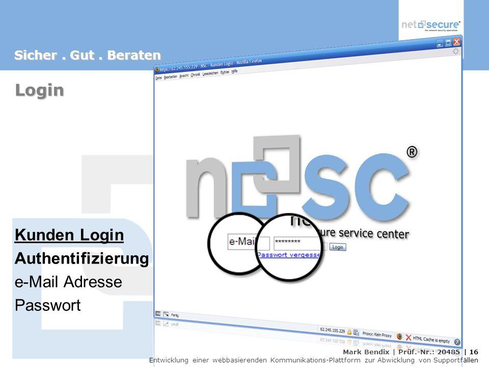 Login Kunden Login Authentifizierung e-Mail Adresse Passwort