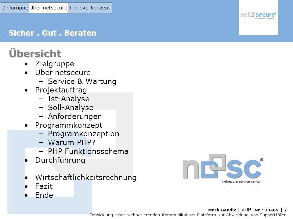 Übersicht Zielgruppe Über netsecure Service & Wartung Projektauftrag
