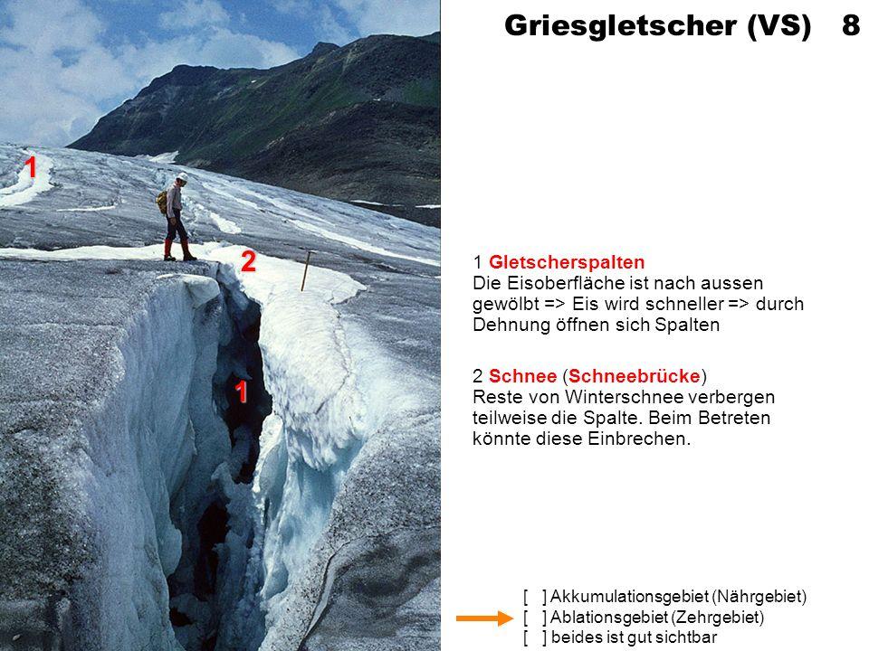 Griesgletscher (VS) 8 1 Gletscherspalten Die Eisoberfläche ist nach aussen gewölbt => Eis wird schneller => durch Dehnung öffnen sich Spalten.