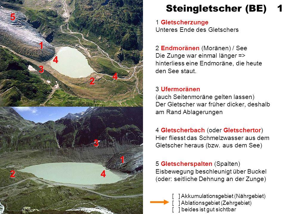 Steingletscher (BE) 1 5. 1 Gletscherzunge Unteres Ende des Gletschers.