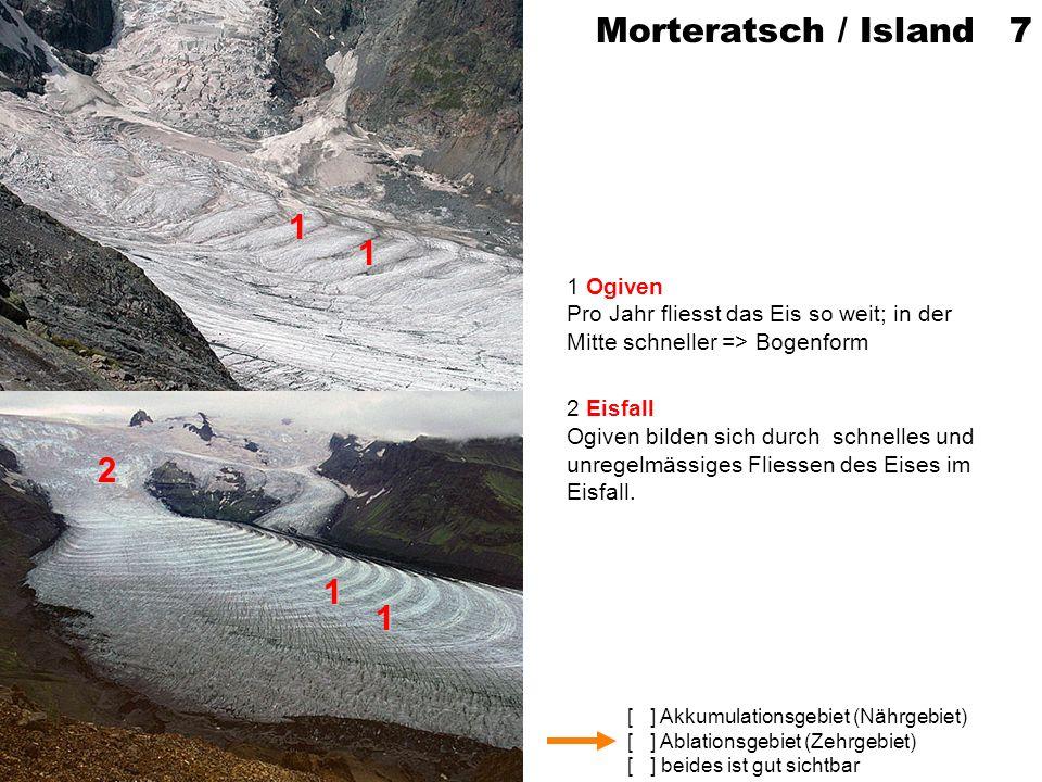 Morteratsch / Island 7 1 Ogiven Pro Jahr fliesst das Eis so weit; in der Mitte schneller => Bogenform.