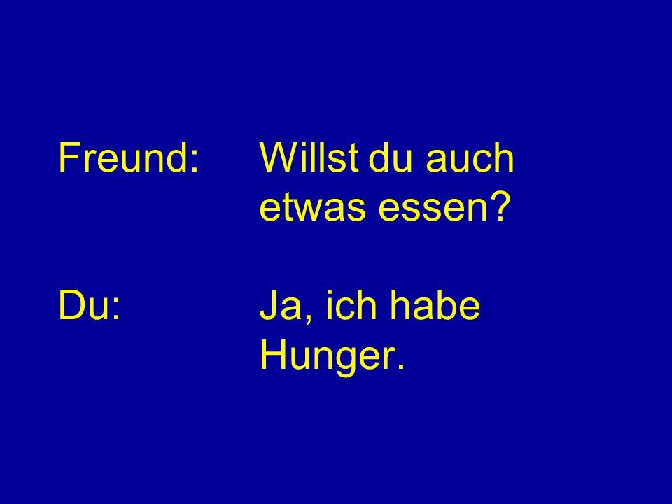 Freund: Willst du auch etwas essen Du: Ja, ich habe Hunger.