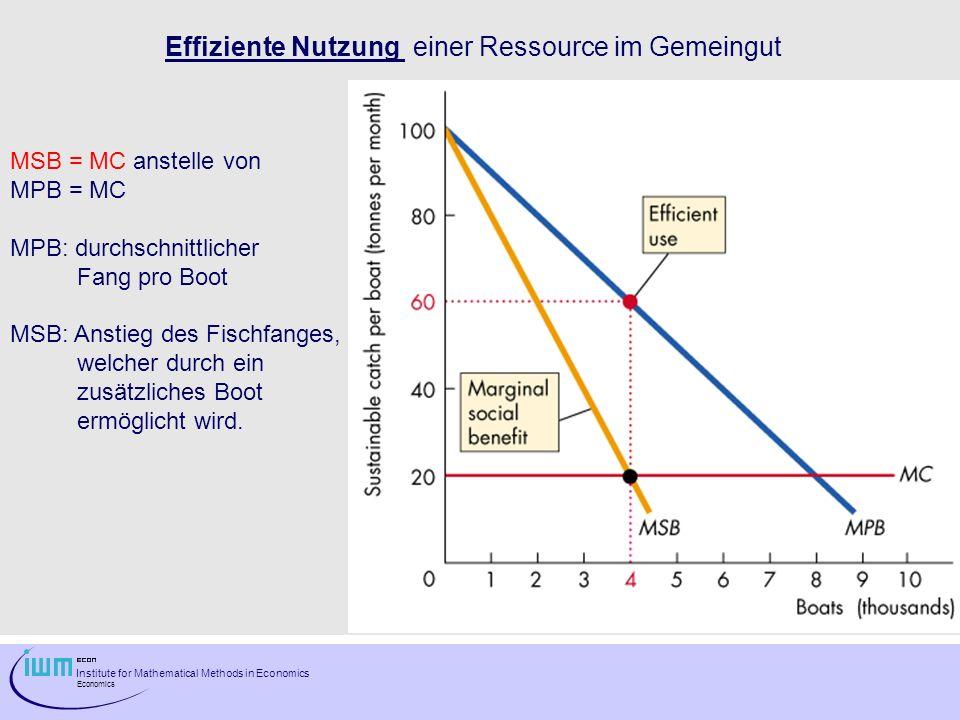 Effiziente Nutzung einer Ressource im Gemeingut