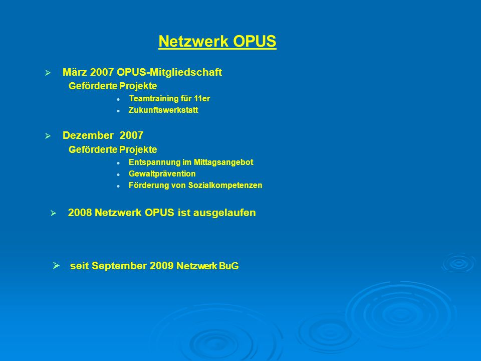 2008 Netzwerk OPUS ist ausgelaufen