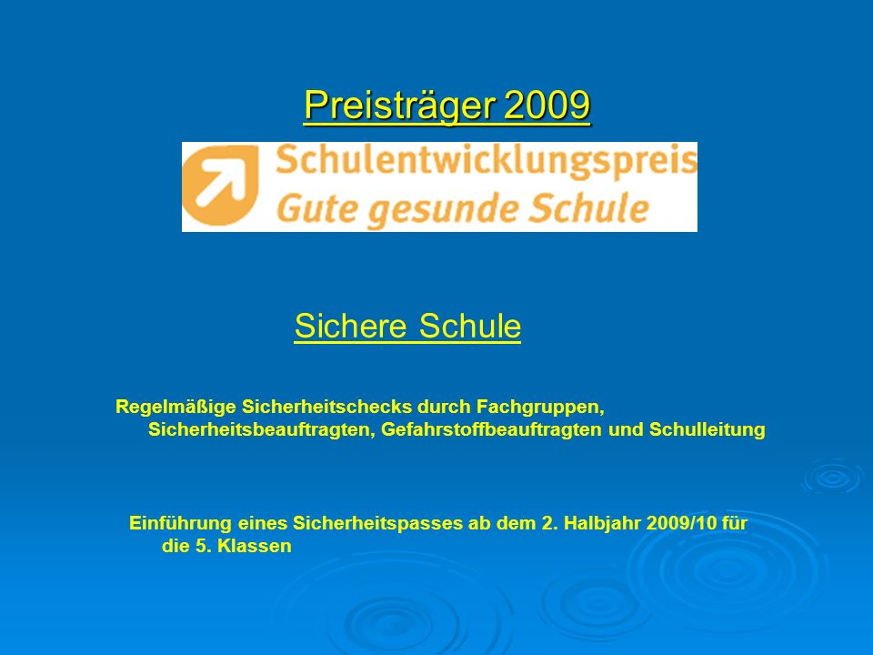 Preisträger 2009 Sichere Schule